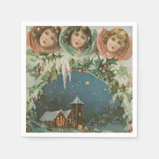 Ciudad del navidad del vintage con los niños servilleta de papel