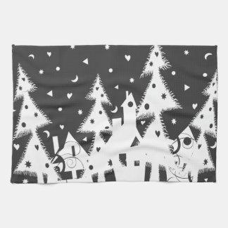Ciudad del navidad toallas de mano