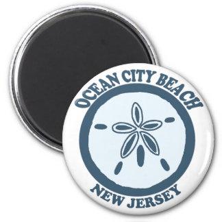 Ciudad del océano imán redondo 5 cm