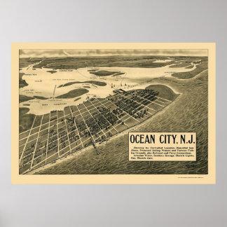 Ciudad del océano, mapa panorámico de NJ - 1903 Póster
