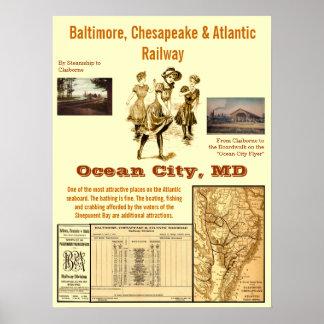 Ciudad del océano, Maryland por el carril Poster