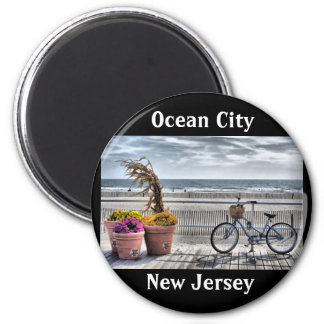 Ciudad del océano, New Jersey Imán Redondo 5 Cm