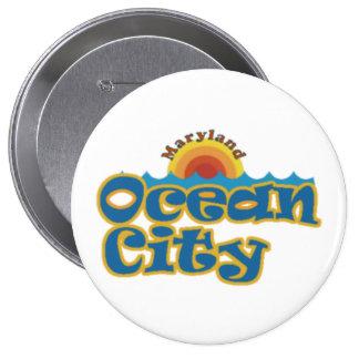 Ciudad del océano pin redondo de 4 pulgadas