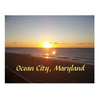 Ciudad del océano, salida del sol del MD Tarjeta Postal