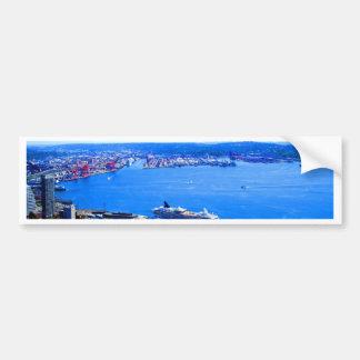 ciudad del paisaje urbano de Seattle del horizonte Etiqueta De Parachoque