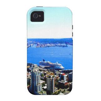 ciudad del paisaje urbano de Seattle del horizonte Vibe iPhone 4 Carcasas