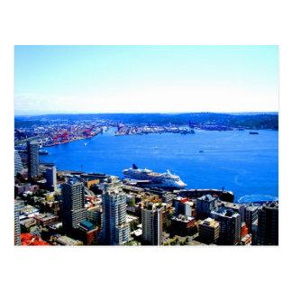 ciudad del paisaje urbano de Seattle del horizonte Tarjeta Postal