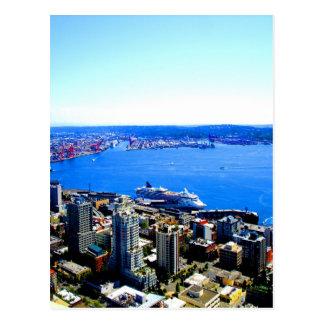 ciudad del paisaje urbano de Seattle del horizonte Tarjetas Postales