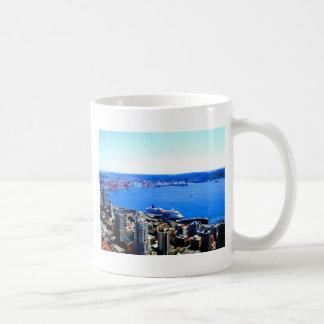 ciudad del paisaje urbano de Seattle del horizonte Tazas
