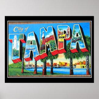 Ciudad del poster del vintage de Tampa de Tampa