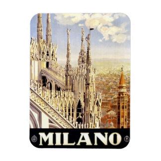 Ciudad del poster italiano 1920 del viaje de Milan Imán Rectangular