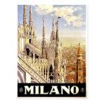 Ciudad del poster italiano 1920 del viaje de Milan Tarjetas Postales
