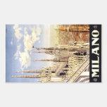 Ciudad del poster italiano 1920 del viaje de pegatina rectangular