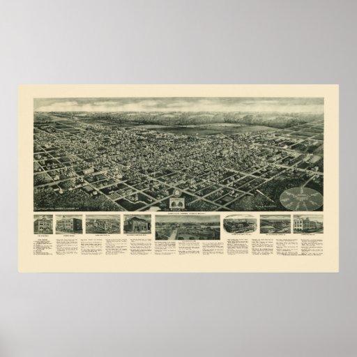 Ciudad del puerto del huevo, mapa panorámico de NJ Impresiones
