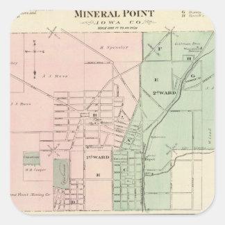 Ciudad del punto mineral y pueblo de Dodgeville Pegatina Cuadrada