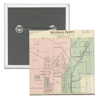 Ciudad del punto mineral y pueblo de Dodgeville Pin Cuadrada 5 Cm