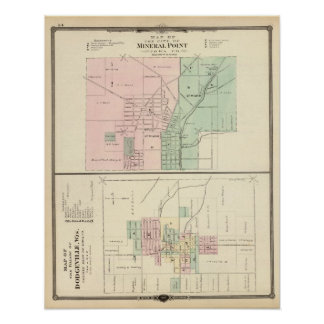 Ciudad del punto mineral y pueblo de Dodgeville Póster