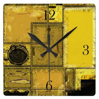 Ciudad del reloj urbano del arte abstracto del oro