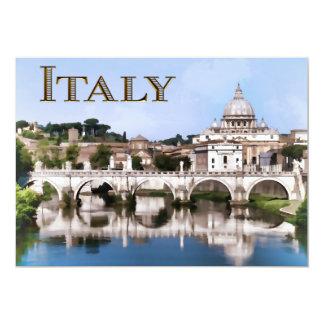 """Ciudad del Vaticano vista del texto ITALIA del río Invitación 5"""" X 7"""""""