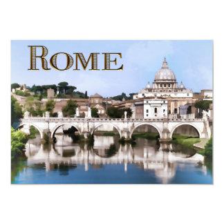 """Ciudad del Vaticano vista del texto ROMA del río   Invitación 5"""" X 7"""""""