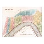 Ciudad del vintage de la postal del mapa de New Or
