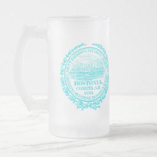 Ciudad del vintage del sello de Boston, azul clara Jarra De Cerveza Esmerilada