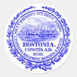 Ciudad del vintage del sello de Boston, azul de Etiquetas Redondas