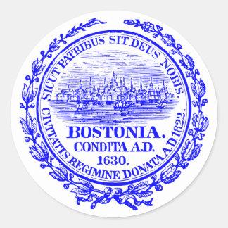 Ciudad del vintage del sello de Boston, azul de Pegatina Redonda