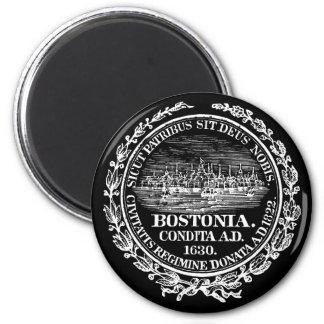 Ciudad del vintage del sello de Boston, blanca Imán De Nevera