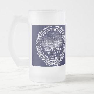 Ciudad del vintage del sello de Boston, blanca Jarra De Cerveza Esmerilada