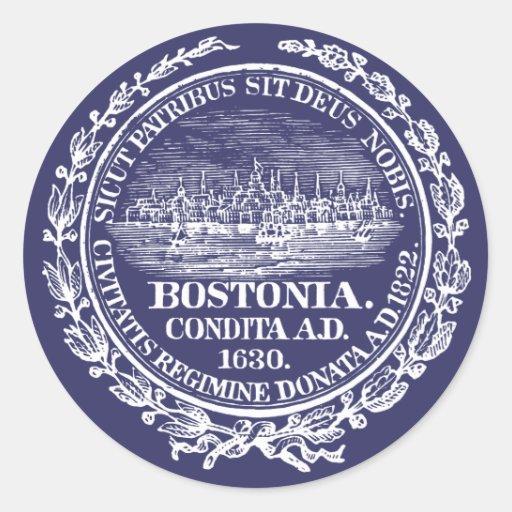 Ciudad del vintage del sello de Boston, blanca Etiqueta Redonda