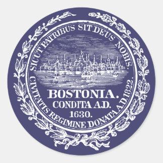 Ciudad del vintage del sello de Boston, blanca Pegatina Redonda