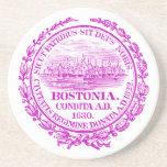 Ciudad del vintage del sello de Boston, púrpura Posavasos Personalizados