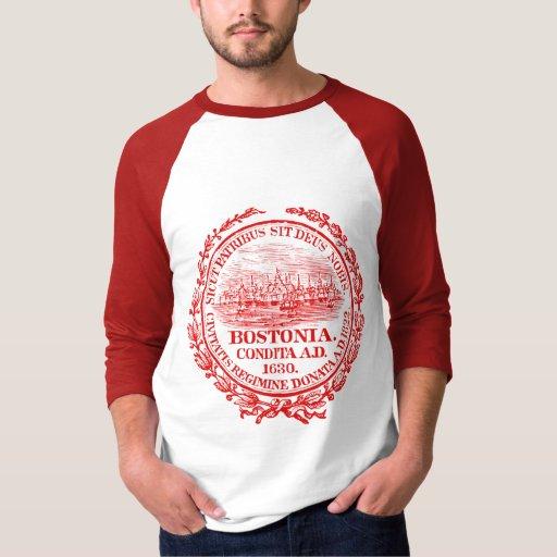 Ciudad del vintage del sello de Boston, roja Poleras