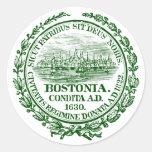 Ciudad del vintage del sello de Boston, verde Pegatinas Redondas