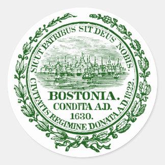 Ciudad del vintage del sello de Boston, verde Pegatina Redonda