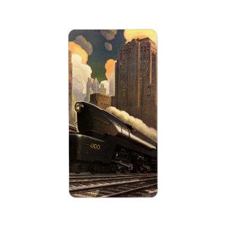 Ciudad del vintage, tren del duplex T1 en pistas Etiquetas De Dirección