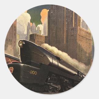Ciudad del vintage, tren del duplex T1 en pistas Etiquetas Redondas