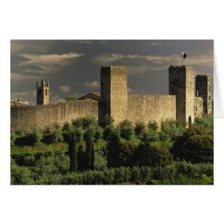 Ciudad emparedada de Monteriggioni, en la provinci Tarjeta De Felicitación
