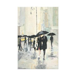 Ciudad en la lluvia lona envuelta para galerias