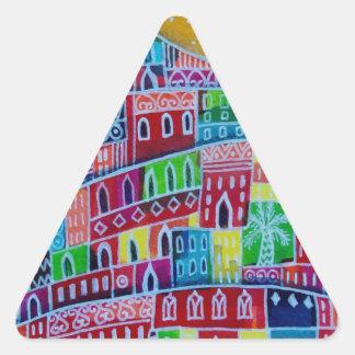 Ciudad estrellada pegatina triangular