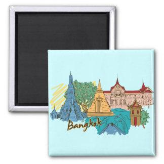 Ciudad famosa de Bangkok, Tailandia Imán Cuadrado