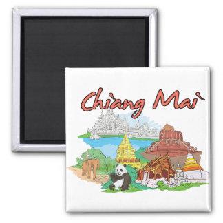Ciudad famosa de Chiang Mai, Tailandia Imán Cuadrado