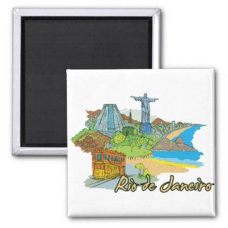 Ciudad famosa de Río de Janeiro, el Brasil Imán Cuadrado