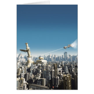 Ciudad futura - torre que cae tarjeta de felicitación