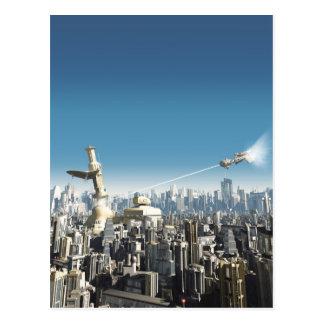 Ciudad futura - torre que cae tarjeta postal