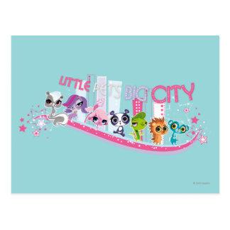 Ciudad grande de los pequeños mascotas tarjetas postales