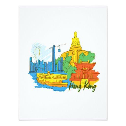 ciudad graphic.png de Hong-Kong Invitación 10,8 X 13,9 Cm