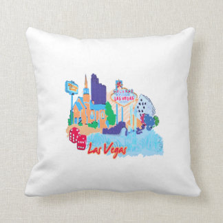 ciudad graphic.png de la acuarela de Las Vegas Nev Cojines