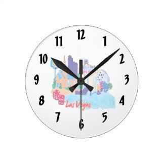 ciudad graphic.png de la acuarela de Las Vegas Nev Reloj Redondo Mediano